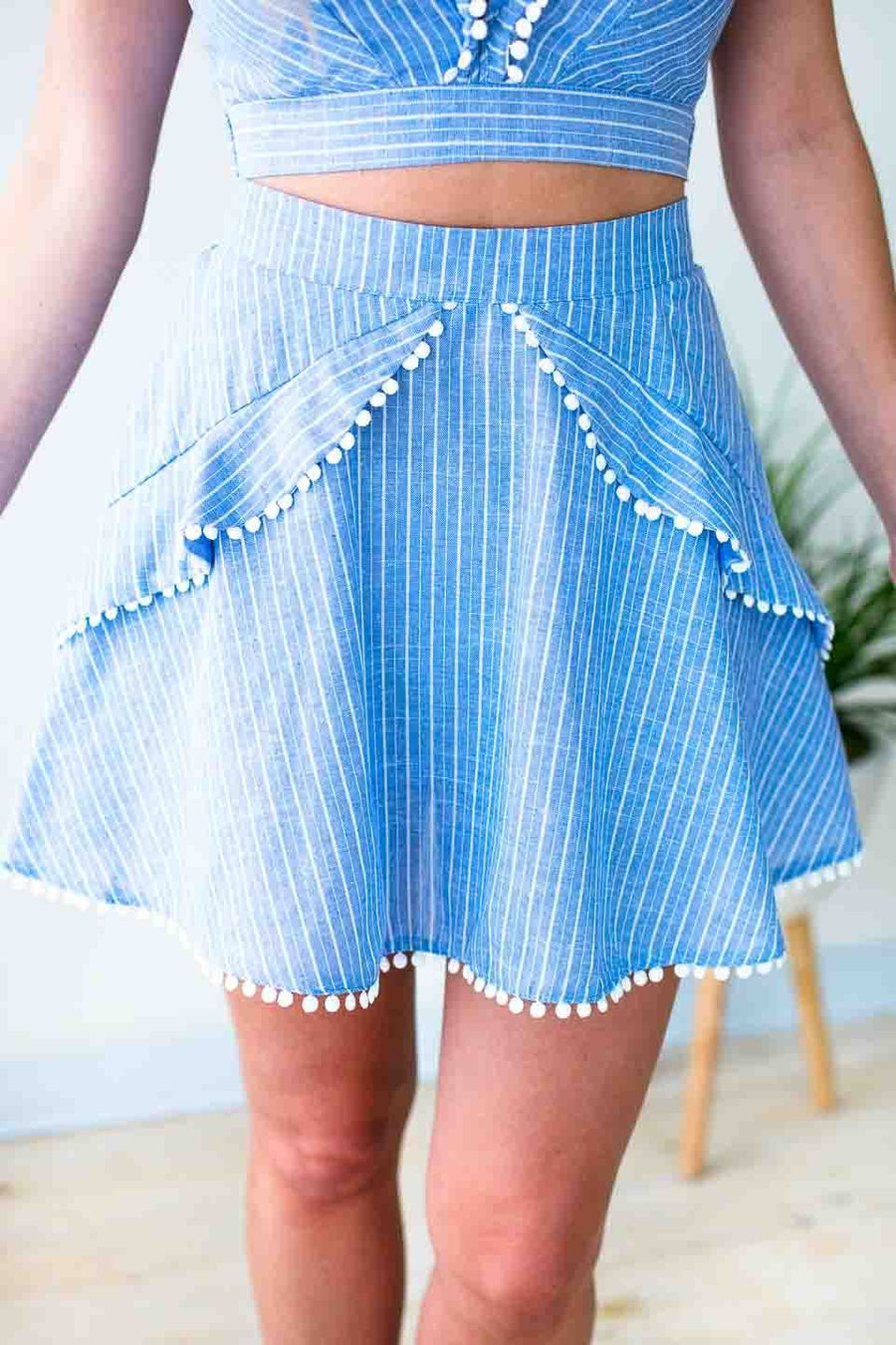 Chambray Stripe Ruffle Skirt