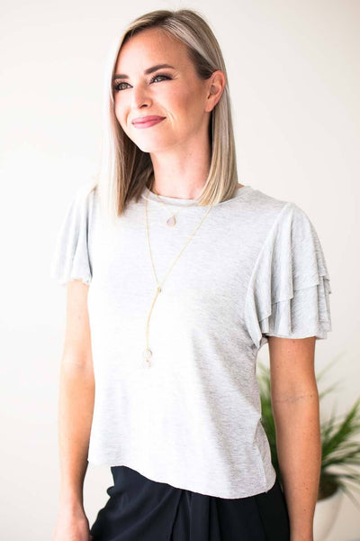 Tops Land My Love Ruffle Sleeve Cropped Top - Heather Grey - Lotus Boutique