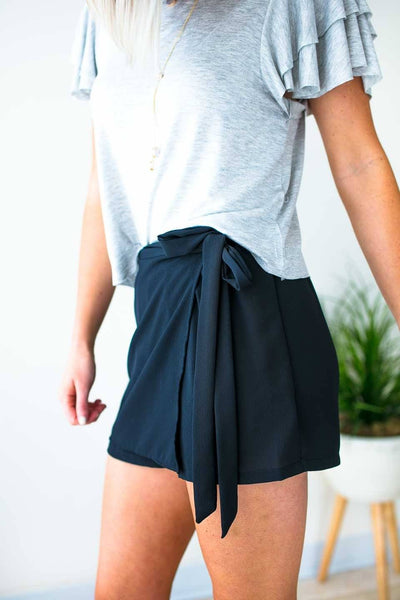 Bottoms Hard Not to Love Wrap Skort in Black - Lotus Boutique