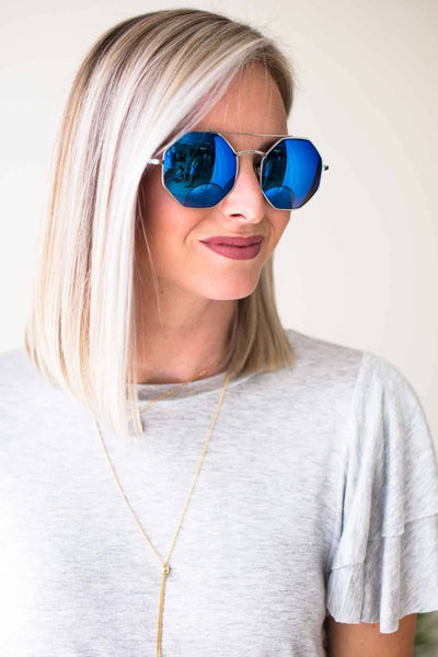 Accessories XO Hexagon Blue Mirror Sunglasses - Lotus Boutique