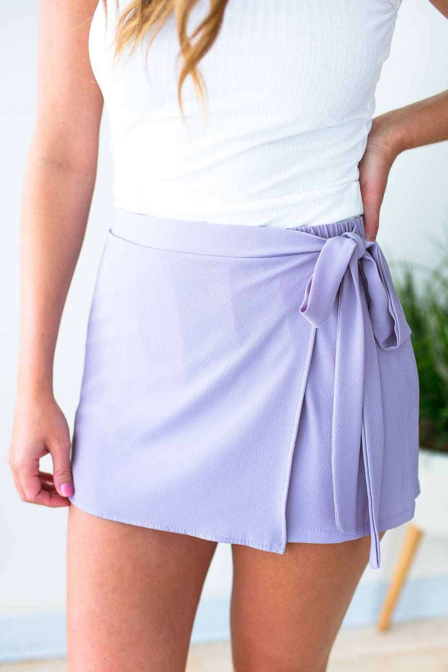 Bottoms Hard Not to Love Wrap Skort - Dove Grey - Lotus Boutique