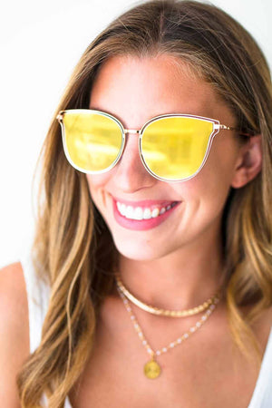 Yellow Mirrored Sunglasses