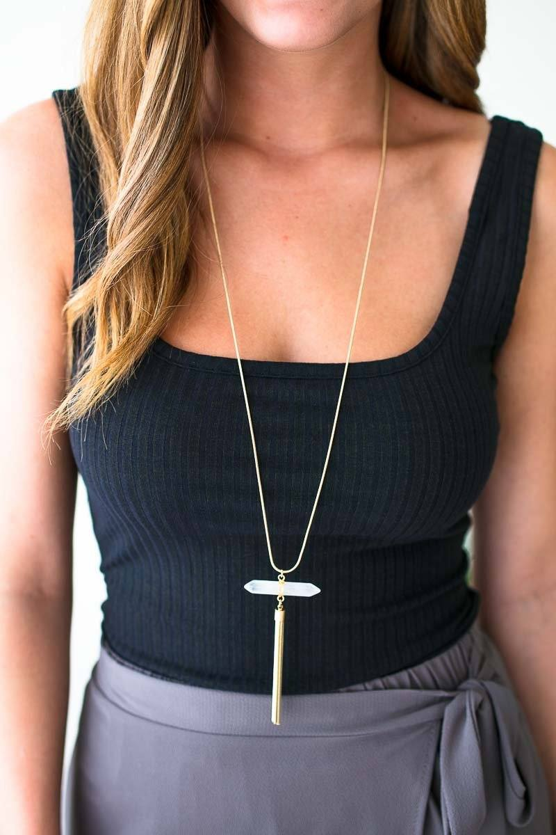 Clear Stone Gold Tassel Necklace
