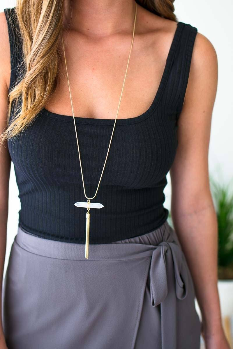 Stone Gold Tassel Necklace