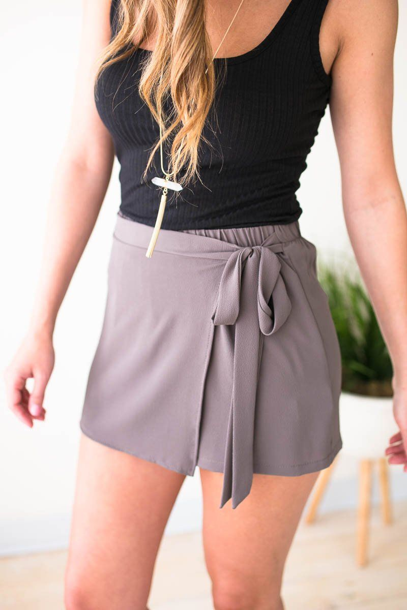 Bottoms Hard Not to Love Wrap Skort in Mushroom - Lotus Boutique