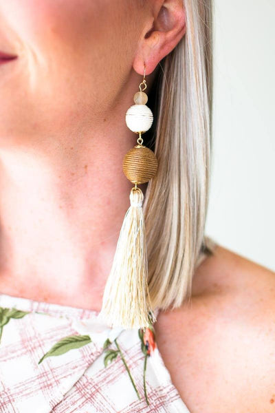 Accessories Travel the World Neutral Tassel Earrings - Lotus Boutique