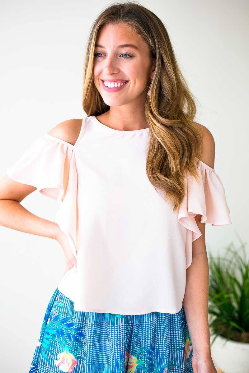 Ruffle Sleeve Cold Shoulder Top