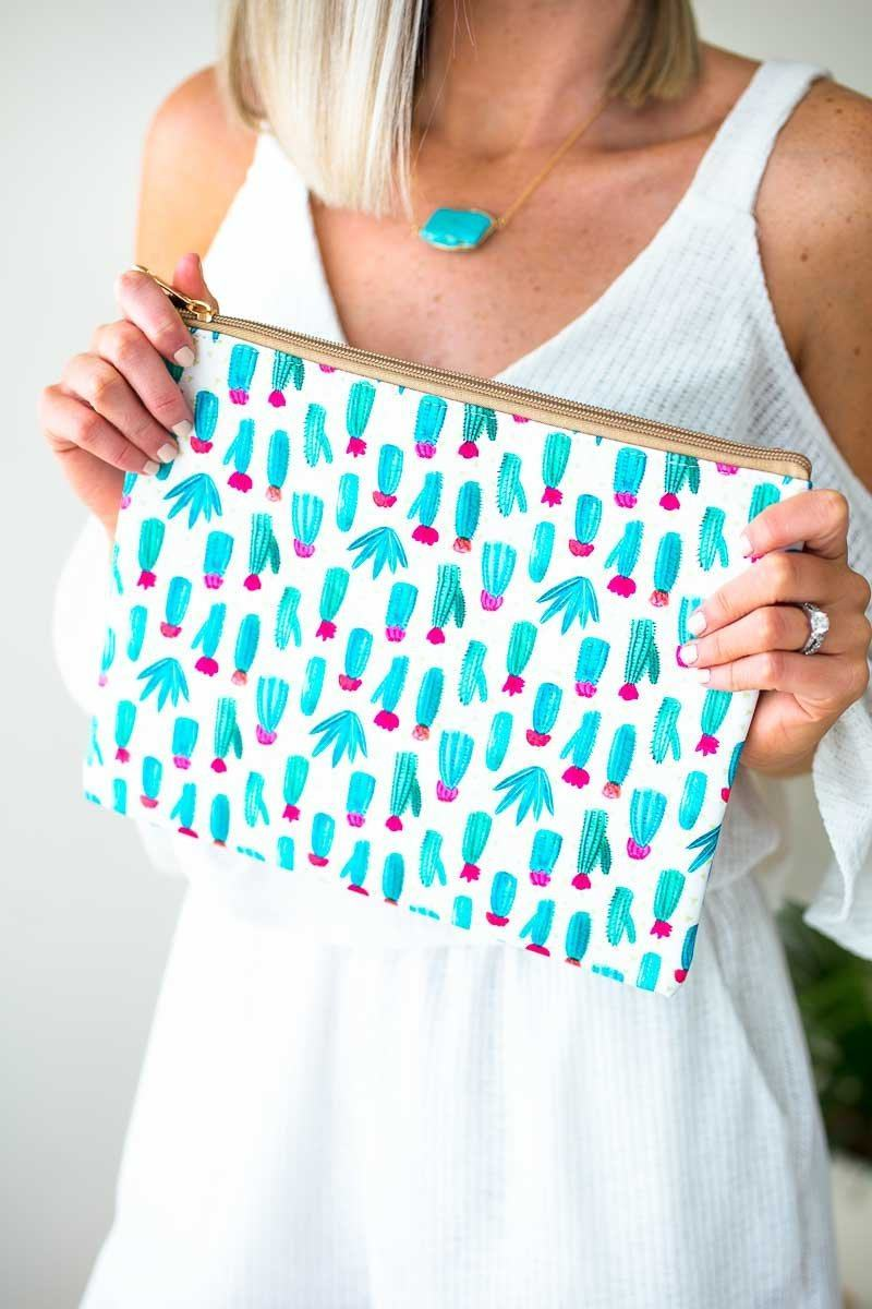Cacti Print Makeup Bag