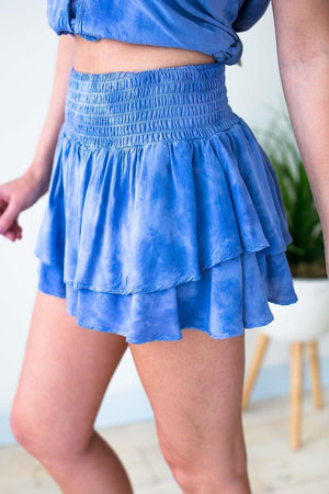 Smocked Tie Dye Skort in Blue