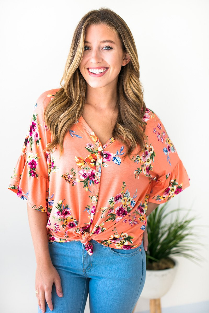 Tie Front Button Coral Floral Top