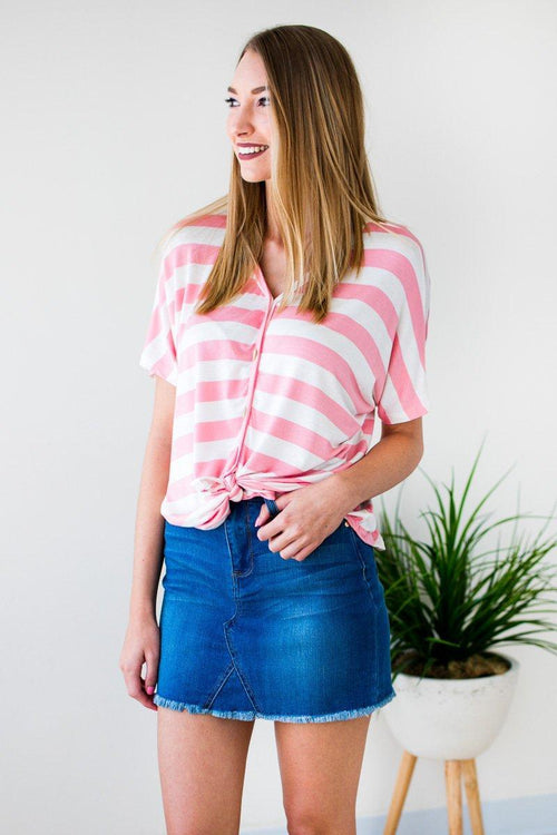 Pink Striped Tie Front Top