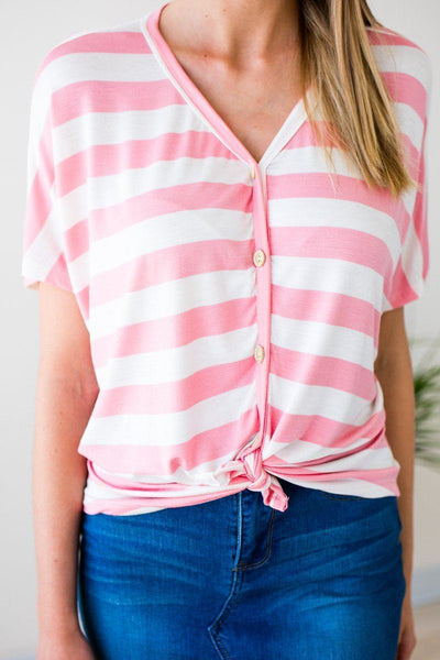 Tops Lucky Charm Stripe Tie Front Top - Blush - Lotus Boutique