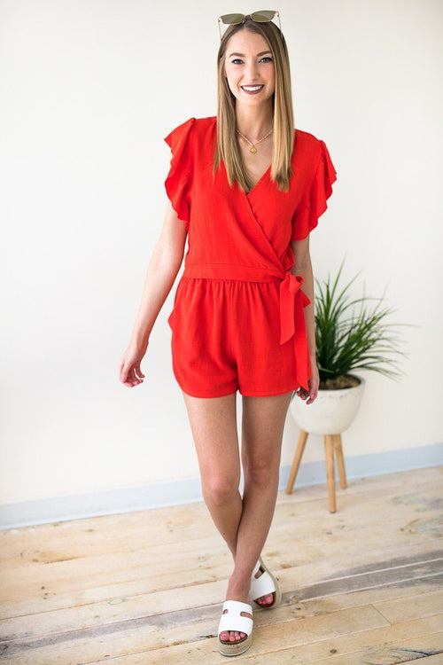 Red Wrap Front Romper