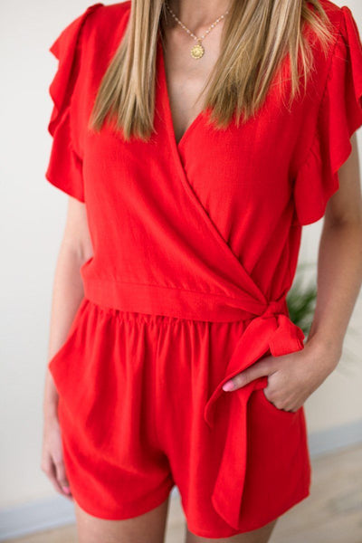 Rompers Hold on Tight Wrap Romper in Tomato - Lotus Boutique
