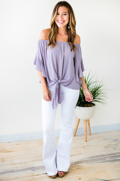 Tops Living for Tonight Flutter Sleeve Top in Dove - Lotus Boutique