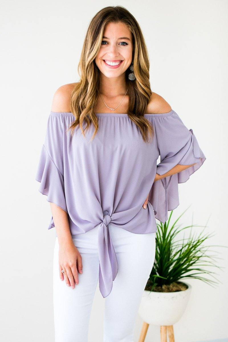 Ruffle Sleeve Off Shoulder Tie Front Top