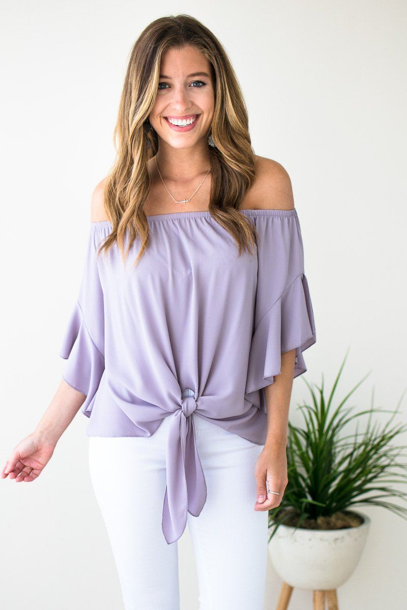 Off Shoulder Tie Front Dove Top