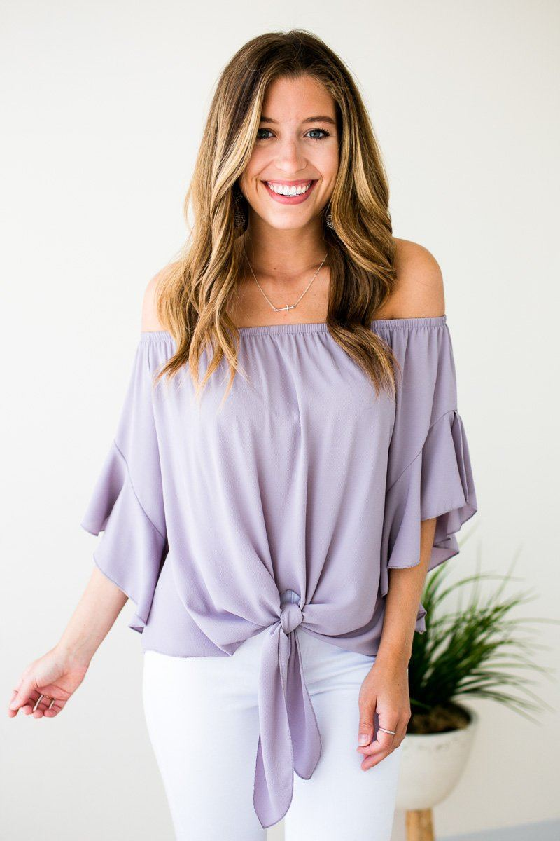 Tie Front Ruffle Sleeve Off Shoulder Top