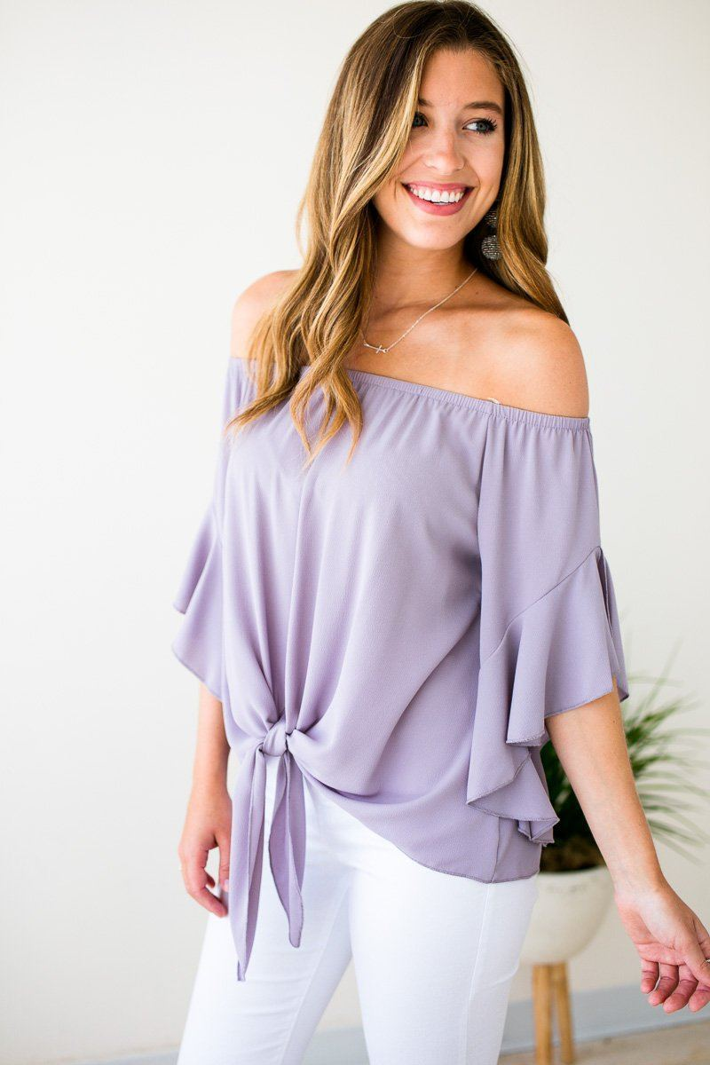 Tie Front Off Shoulder Top- Dove