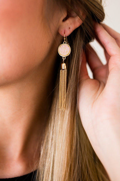 Accessories Full Moon Iridescent Druzy Tassel Earrings - Lotus Boutique