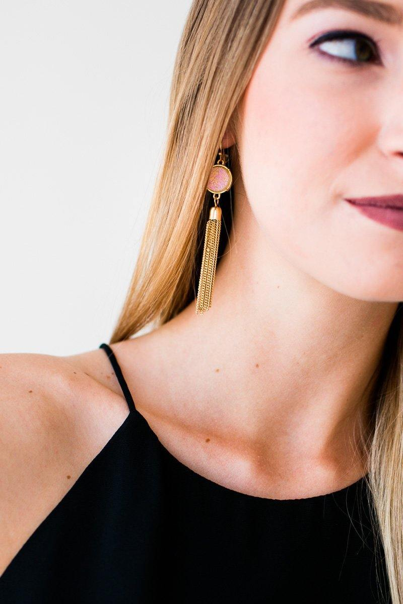 Druzy Gold Tassel Earrings