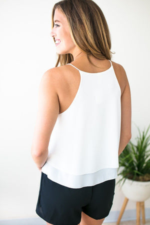 Basic White Wrap Layered Tank