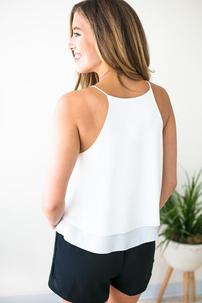 Tops After the Storm Wrap Layered Tank in Ivory - Lotus Boutique