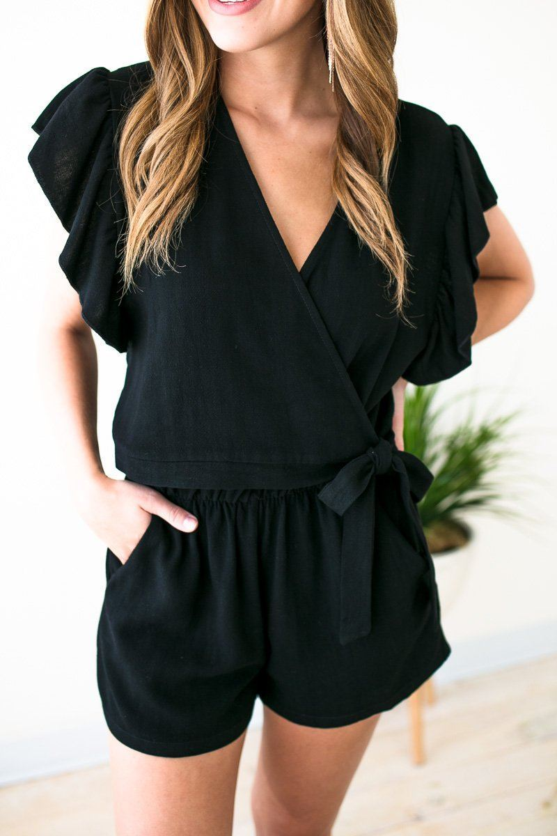 Rompers Hold on Tight Wrap Romper in Black - Lotus Boutique