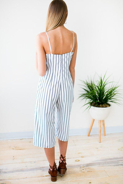 Playsuits Surrounded By Water Stripe Crop Jumpsuit - Lotus Boutique