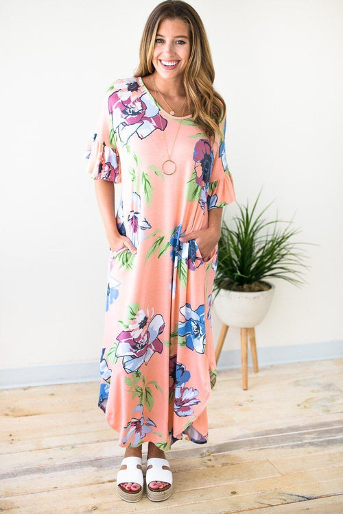Branson Theater Floral Ruffle Sleeve Maxi Dress