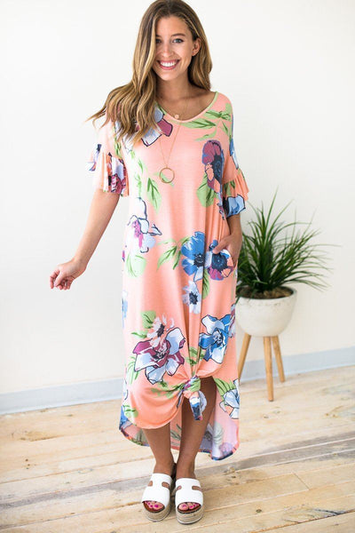 Dresses Branson Theater Floral Ruffle Sleeve Maxi Dress - Lotus Boutique