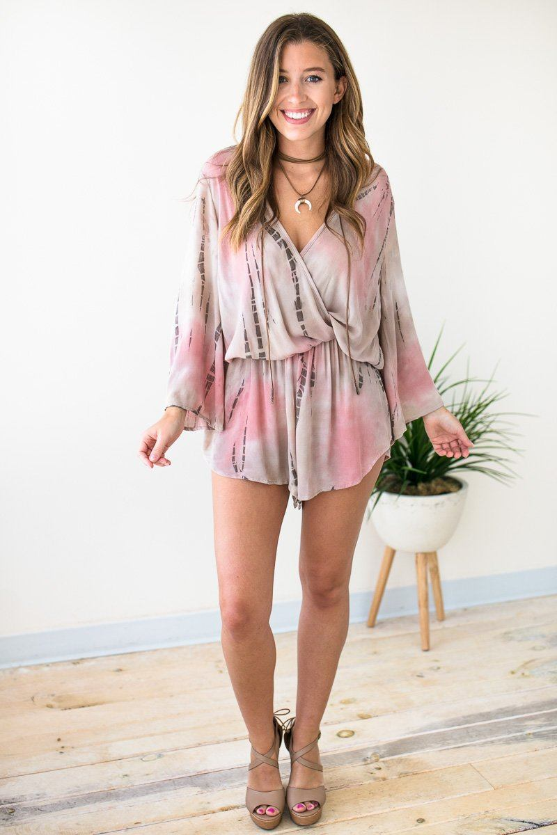 Playsuits San Antonio Skies Tie Dye Flowy Romper - Lotus Boutique