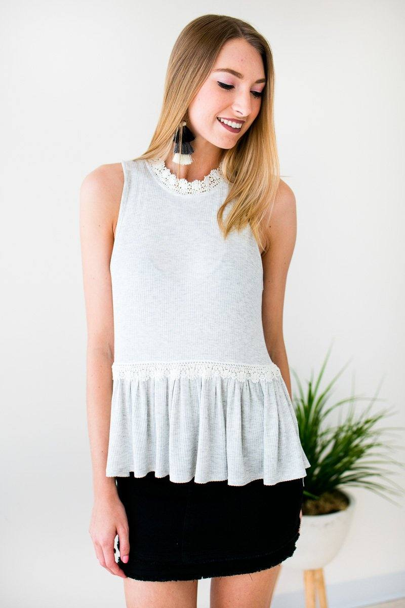159dee85bb Tops Lighten the Mood Ribbed Flowy Tank w Lace - Lotus Boutique