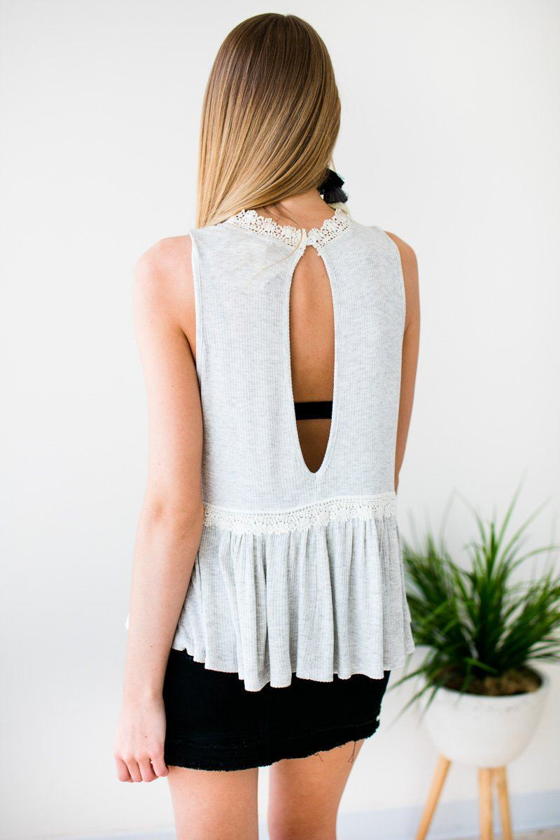 Tops Lighten the Mood Ribbed Flowy Tank w Lace - Lotus Boutique