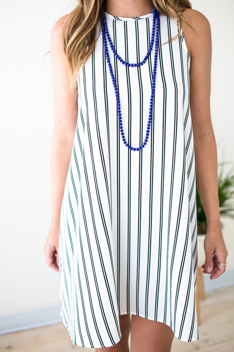 Dresses Get in Line Stripe Swing Dress - Lotus Boutique