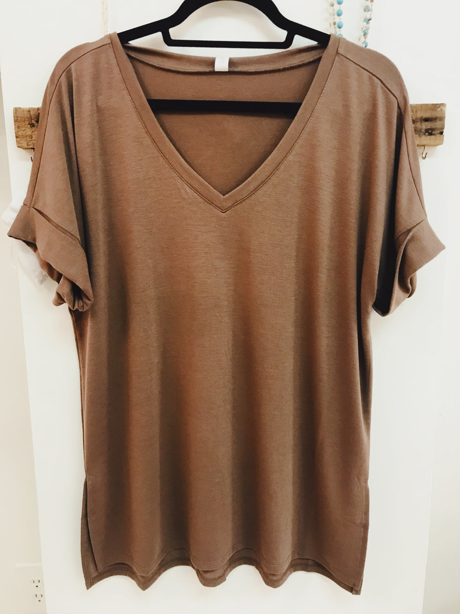 V-Neck Rolled Sleeve Top with High Low Hem