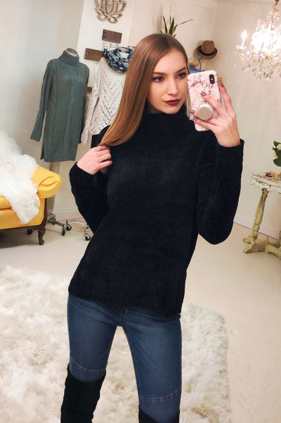 Chenille Black Sweater