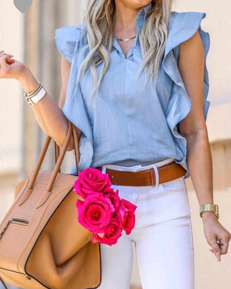 Ruffle Things Up Chambray Top