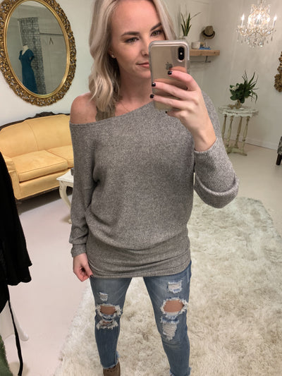 Tops Off Kilter One Shoulder Tunic in Grey - Lotus Boutique