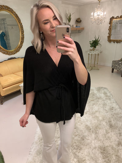 Tops Plum Crazy Waffle Tie Front Top in Black - Lotus Boutique