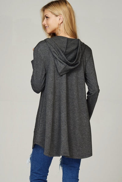 Top Be Somebody Hoodie Tunic- Charcoal - Lotus Boutique