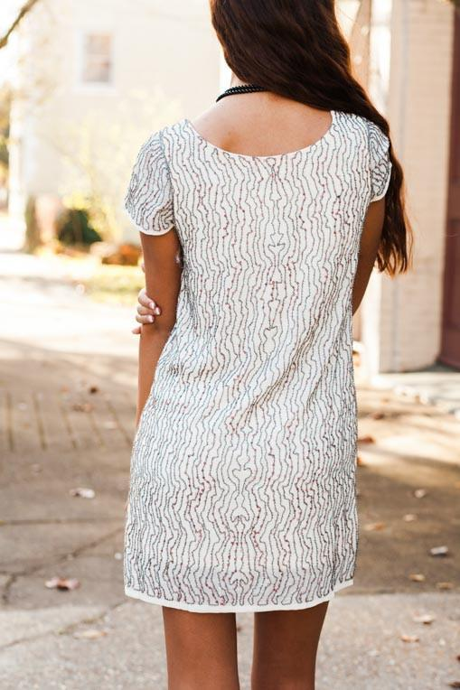 Dresses Let The Sunshine Gold and Ivory Sequin Dress - Lotus Boutique