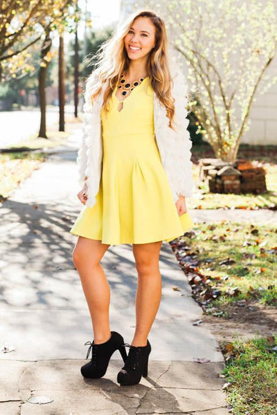 Dresses Just A Hint of Lime Scalloped Dress - Lotus Boutique