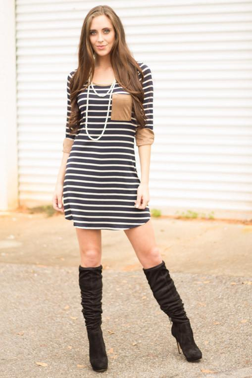 Sail Into The Blue Striped Dress