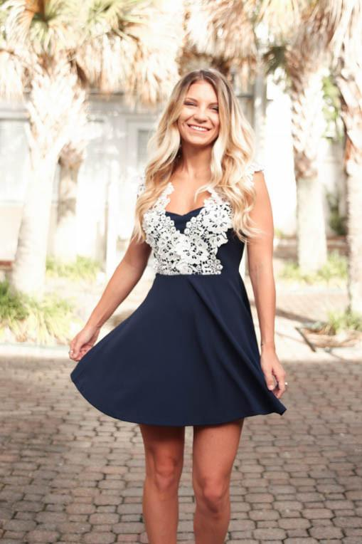 Graceful Lace Sleeve Navy Fit and Flare Dress