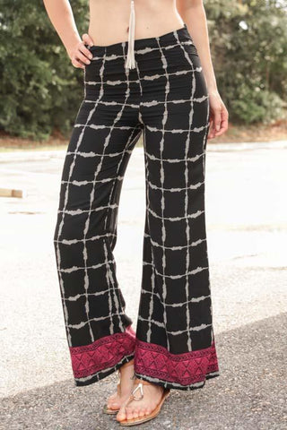 Little Black Widow Black Wide Leg Palazzo Pants