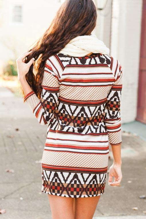 Dresses Swept Away Rust Geometric Sweater Dress - Lotus Boutique