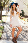 Dresses Frolicking Through Angel Fields Cream Bellsleeve Lace Dress - Lotus Boutique