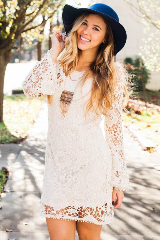 Frolicking Through Angel Fields Cream Bellsleeve Lace Dress-Dresses-Lotus Boutique-Lotus Boutique