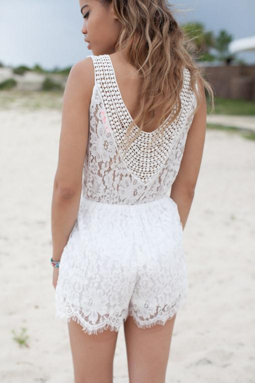Back Detail Living on the Edge White Lace Romper - Lotus Boutique